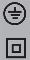 3. kép: Felül -> A védővezető csatlakoztatására szolgáló kapocs jele, alul -> A kettős-, illetve megerősített szigetelésű készülék jele