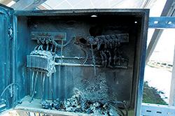 4. ábra A megsemmisült DC elosztószekrény